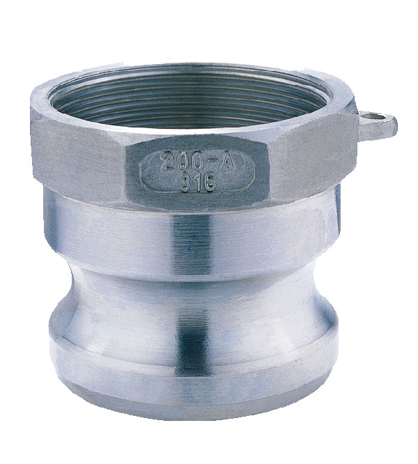 """Stainless steel Camlock Fitting Type A Standard: Our Camlock Fitting are made to standard of A-A-59326 (previously called MIL-C-27487) or DIN 2828. Casting method: Investment casting Sizes available: From 1/2"""" to 6"""" Body material: CF8M casting (SS316) CF8 casting (SS304) Other material are available on request Cam levers: stainless steel cam levers. Pins, Rings and Safety clips: We use stainless steel Pins, Rings and Safety clips. (Note: Safety clips are only available when required by the client, the client have to pay additional if need safety clips) Sealings: NBR /EPDM /Viton /PTFE envelop gasket,Other materials are available on request. Threads: NPT BSP ( female thread parallel BSPP, male thread tapered BSPT) MOQ: 50pcs (we accept small order to test) Delivery time: we have enough stock of normal size. Pls contact with us if you have any questions."""